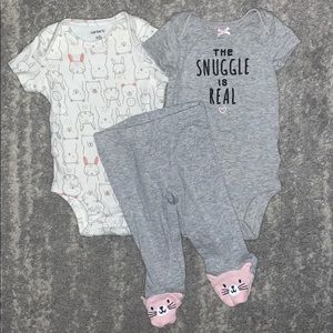 """Carters """"the snuggle is real"""" bunny bear cat set"""